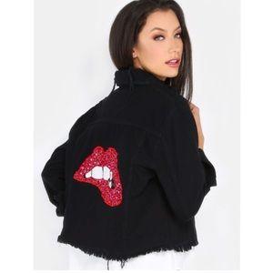 Jackets & Blazers - 💐NWT Black Distressed Denim Jacket/Sequined Lips